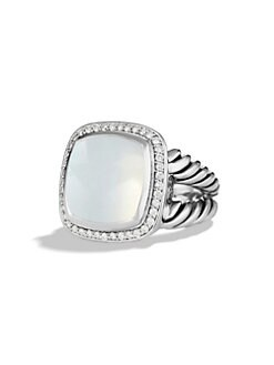 David Yurman - Moon Milky Quartz, Diamond & Sterling Silver Ring