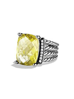 David Yurman - Diamond, Lemon Citrine and Sterling Silver Ring
