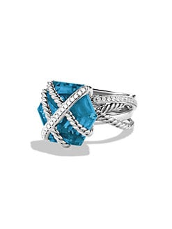 David Yurman - Diamond, Blue Topaz and Sterling Silver Ring