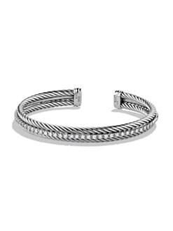 David Yurman - Diamond & Sterling Silver Bangle Bracelet