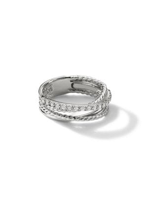 Crossover Ring with Diamonds