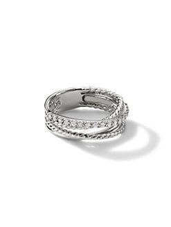 David Yurman - Diamond & Sterling Silver Band Ring