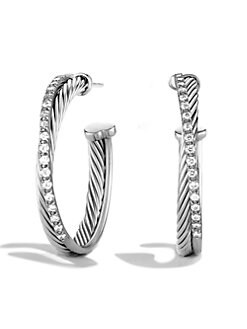 David Yurman - Diamond & Sterling Silver Hoop Earrings/1.25