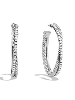 David Yurman - Diamond & Sterling Silver Hoop Earrings/1.5