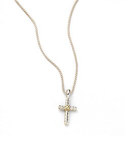 David Yurman - Child's Sterling Silver & 18K Yellow Gold Cross Necklace