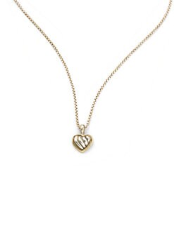 David Yurman - Child's Sterling Silver & 18K Yellow Gold Heart Necklace