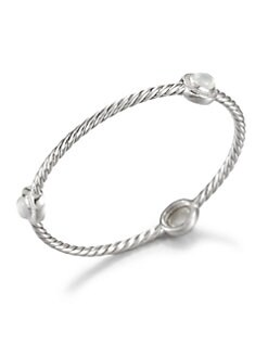 David Yurman - Milky Quartz, Diamond & Sterling Silver Bangle Bracelet