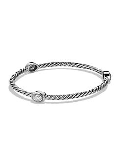 David Yurman - Pavé Diamond Sterling Silver Station Bangle Bracelet