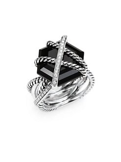 David Yurman - Diamond, Black Onyx and Sterling Silver Ring