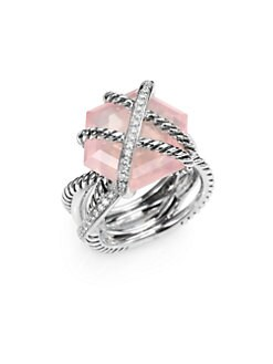 David Yurman - Diamond, Rose Quartz and Sterling Silver Ring