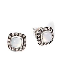 David Yurman - Diamond, Moonquartz and Sterling Silver Earrings