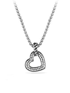 David Yurman - Pave Diamonds & Sterling Silver Heart Enhancer