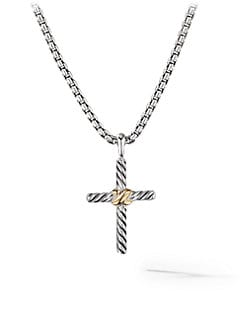 David Yurman - Sterling Silver & 14K Yellow Gold Cross Necklace