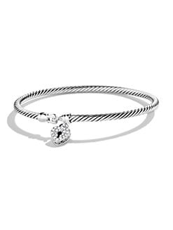 David Yurman - Diamond & Sterling Silver Heart Lock Petite Bracelet
