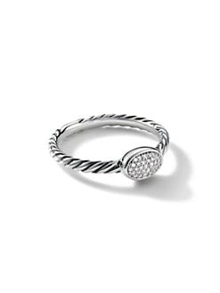 David Yurman - Diamond & Sterling Silver Oval Stack Ring