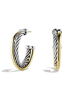 David Yurman - 18K Gold & Sterling Silver Small Hoop Earrings