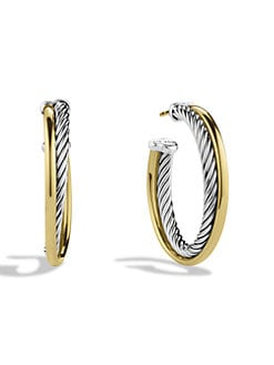 David Yurman - 18K Yellow Gold & Sterling Silver Crossover Hoop Earrings/1