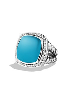 David Yurman - Turquoise, Diamond and Sterling Silver Ring