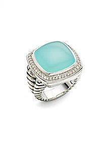 David Yurman - Aqua Chalcedony, Diamonds & Sterling Silver Ring