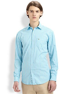 Lacoste - Striped Cotton Poplin Sportshirt