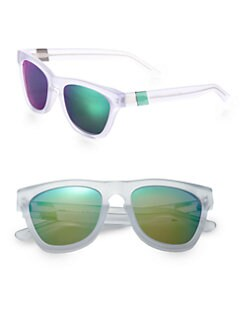 Westward Leaning - Color Revolutions Acetate Square Sunglasses/White & Neon Green