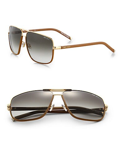 Jimmy Choo Carry Oversized Metal Sunglasses   Rose Gold Brown