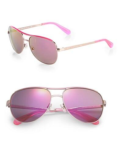 Kate Spade New York Metal Aviator Sunglasses   Rose Gold Pink