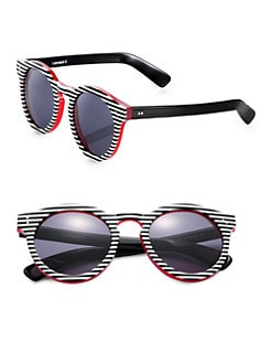 Illesteva - Leonard Stripes Round Sunglasses