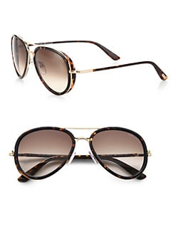 Tom Ford Eyewear - Miles Metal & Plastic Tortoise Sunglasses