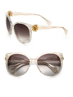 Alexander McQueen - Oversized Stripe Acetate Sunglasses