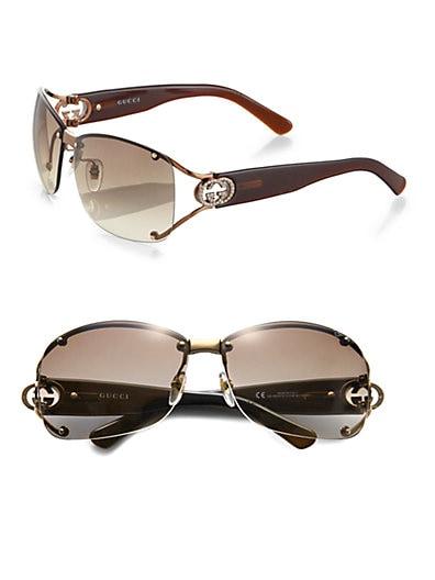 be5c9a3f45040 Gucci Open Temple Oval Sunglasses Brown