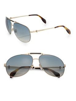Alexander McQueen - Metal Aviator Sunglasses/Gold