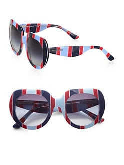 Dolce & Gabbana - Thick Striped Plastic Round Sunglasses