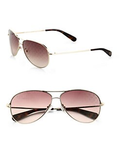Tory Burch - Logo Lens Aviator Sunglasses