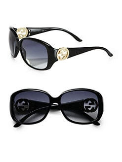 Gucci - Crystal GG-Accented Plastic Oval Sunglasses