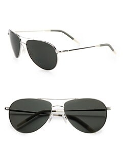 Oliver Peoples - Benedict Polarized Metal Aviator Sunglasses/Silver