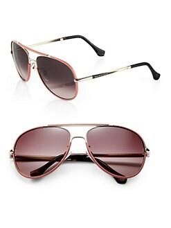 Balenciaga - Leather-Trimmed 60mm Aviator Sunglasses