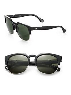 Balenciaga - 54mm Metal/Acetate Round Sunglasses