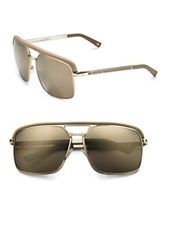 Dior - Leather-Trim Aviator Sunglasses
