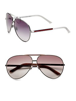 Gucci - Metal Striped Aviator Sunglasses