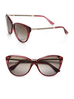 Tod's - Feminine Soft Cat's-Eye Sunglasses/Havana Red