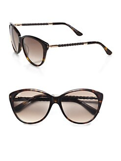 Tod's - Feminine Soft Cat's-Eye Sunglasses/Havana