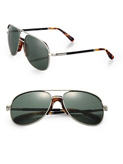 The Row - Leather-Accent Aviator Sunglasses
