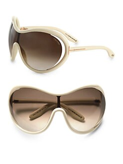 Tom Ford Eyewear - Grant Oversized Round Shield Sunglasses/Horn