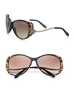Roberto Cavalli - Kandooma Leopard Round Drop Temple Sunglasses
