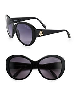Roberto Cavalli - Oversized Round Logo Sunglasses/Black