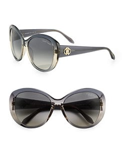 Roberto Cavalli - Oversized Round Logo Sunglasses/Grey