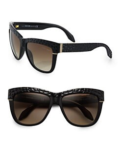 Roberto Cavalli - Snake-Embossed Square Sunglasses/Black