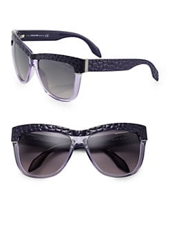 Roberto Cavalli - Snake-Embossed Square Sunglasses/Violet