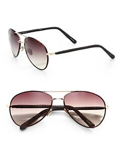 Linda Farrow Luxe - Snakeskin Accented Aviator Sunglasses